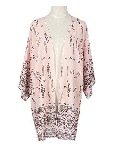 Damen Boho Printed Chiffon Lose Schal Kimono Cardigan Bikini Cover Up Pink