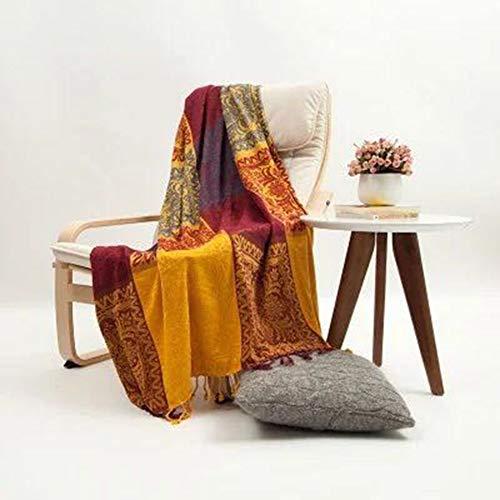 BOHOME Boho Couch-Überwurfdecke für Möbel, Stuhl, Bett, Loveseat Sofa, Strickbezug, wunderschöne Chenille Jacquard Quasten Decke 59