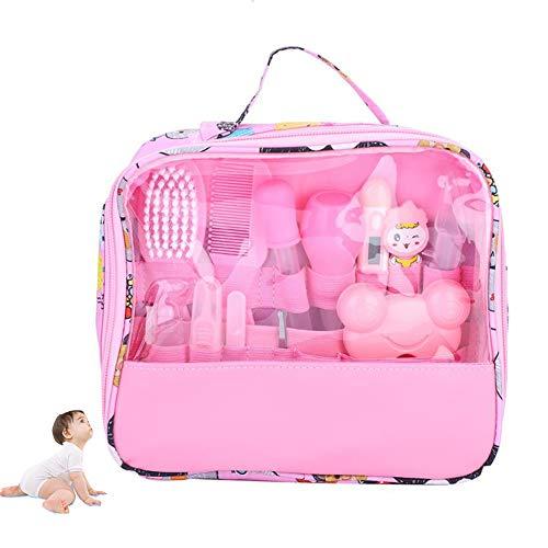 Schönheit, Nagelpflege (HBIAO Baby Nagelpflege-Set, 13 Sätze von Pflege-Set Thermometer Schönheit Bürste Schere Multifunktions-Babypflege Gesundheit Zubehör,Pink)