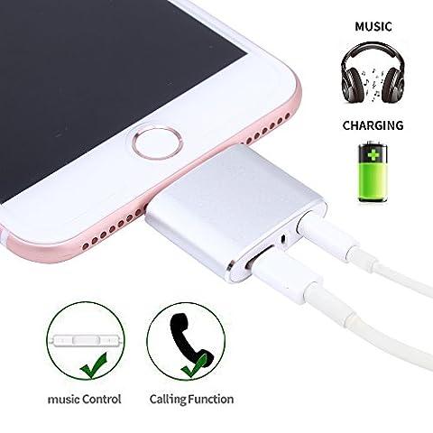Lonsun [prenant en charge contrôle de la musique et des appels Volume] 2en 1Lightning vers adaptateur audio 3,5mm, prend en charge iOS 10.3, prise casque adaptateur pour iPhone 7/7Plus