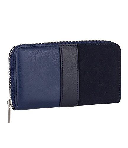 hes Damen Portemonnaie Geldbeutel Geldbörse Kellnerportemonnaie hell dunkel-blau Streifen Optik silberner Reißverschluss (419-814) (Super Dunkle Sonnenbrille)