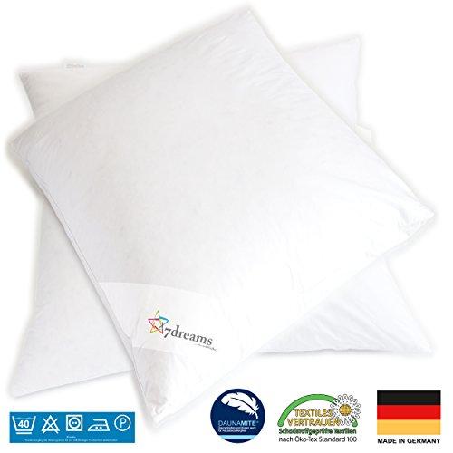 7dreams® 3 Kammer Daunen Feder Kopfkissen Gänseflaum 2er Set - Deutsches Qualitätsprodukt - 80x80cm - 1060g Füllgewicht
