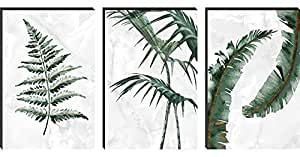 SAF Set of 3 Preety Green Leaf Modern Art MDF Self Adhessive UV Textured Painting 27 Inch X 12 Inch(Each Painting Size 12 Inch X 9 Inch) PHC30208