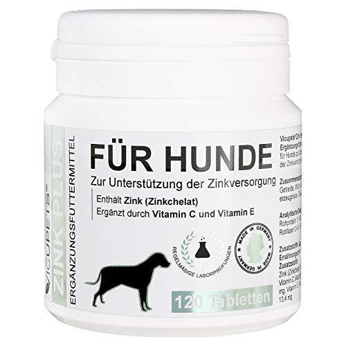 Vicupets® Zink Plus für Hunde   Unterstützung des Stoffwechsels, Immunsystems, natürlichen Wachstums und schönem Fell   Made in Germany   120 Stück
