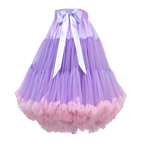 FOLOBE erwachsene luxuriöse weiche Chiffon Petticoat Tüll Tutu Rock Damen Tutu Kostüm Ballett Tanz Multi-Layer Puffy (Kostüme Tanz Unternehmens)