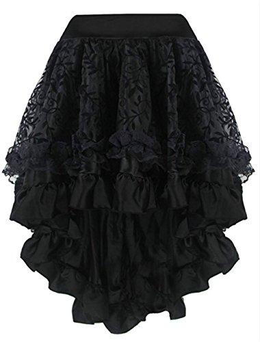 KuSen Damen Burleske Steampunk Mehrfarbig Lagig Chiffon Rock Übergrößen  (EUR(32-34)S, (Showgirl Kostüm Steampunk)
