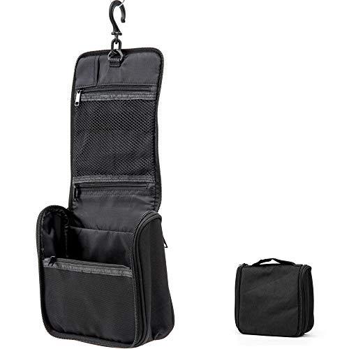 Kulturbeutel für Frauen & Männer/Kompakte Reise Kulturtasche zum aufhängen/Kosmetiktasche mit Henkel und Tragegriff (Schwarz)