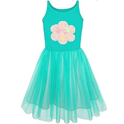 Sunny Fashion Robe Fille Réservoir Fleur Tulle Jupe Tutu Habiller 6 ans