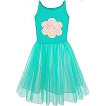 Sunny Fashion Vestido para niña De punto Algodón Tramo Tul Superposición ...