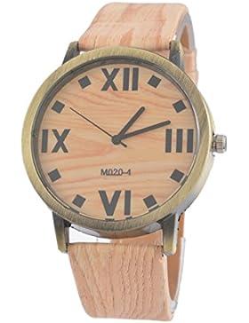Souarts Damen Retro Holz Streifen Uhr Armbanduhr Holzimitation Kunstleder Quartzuhr Analog mit Batterie