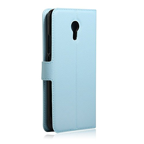 Taslar Leather Wallet Magnetic Clip Stand Flip Back Cover Case For Meizu M3 Note (Blue)