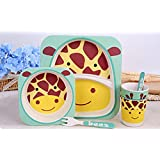 EZ Life 5 Pcs Kids Dining Set - Giraffe - Eco Friendly Bamboo - Yellow & Brown