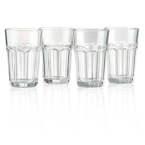 Artland Pearl Ridge Hiball Trinkglas, klar, Set 4