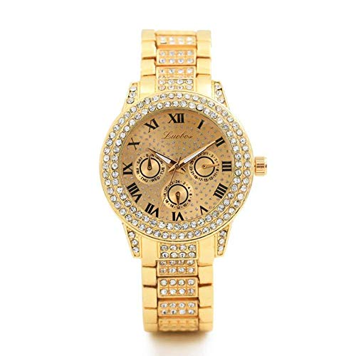 Uhren GoldDamenuhrenQuarz Armband Armband Crystal Diamond Watch DamenRelogio Feminino