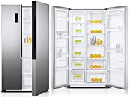 Super General 429 Liters Side By Side Double-Door Refrigerator-Freezer, Digital Control, Silver SGR710SBS, 1 Y