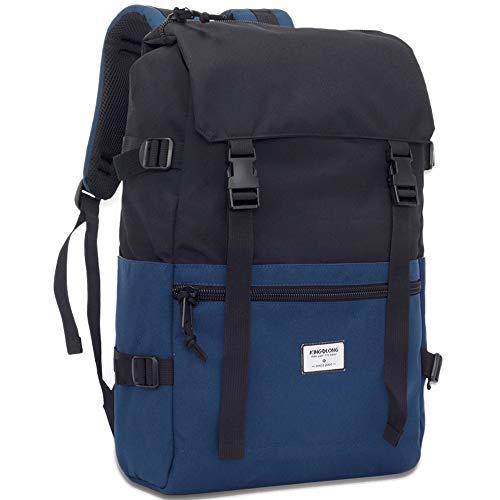 Laptop Rucksack Unisex Sportrucksack 15-15.6 Zoll Wasserdicht Reiserucksack mit Gepolsterten Schulterriemen Schwarz Blau für Schule, Arbeit, Reisen, Wandern, tägliche Nutzung