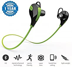 Samsung Galaxy Tab A 8.0 / Samsung Tab A 8.0 compatible Green SPORTS Bluetooth Jogger Headset Wireless 4.0 Handfree Stereo Headphone Compatible with Xiaomi Mi, Apple, Samsung, Sony, Lenovo, Oppo, Vivo and ALL other Smartphones (1 Year Warranty, Color May Vary)by MOBLIOS