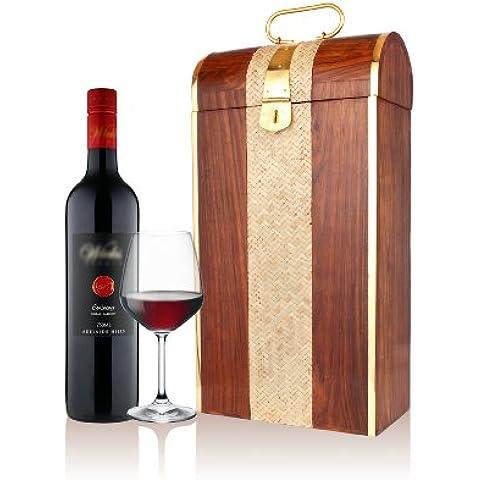 Store Indya, Mano divertida tallado ligero de madera titular sola botella de vino (19 X 10 X 35,5) cm, con entretejido de cana de Gaza Centro, Mughal Inspirado bordes de laton, LatchHandle