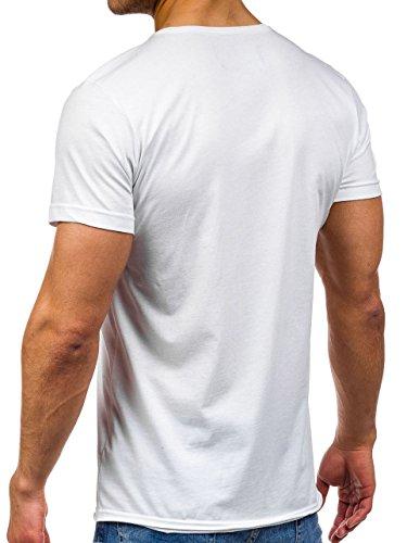 BOLF �?T-shirt �?Maniche corte �?Slim fit �?Scollo rotondo �?Stampa �?Classico �?Motivo �?Uomo [3C3] Bianco