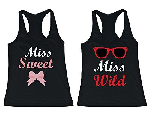 BFF camisetas a juego para los mejores amigos, diseño de camiseta de Tank Tops Miss Wild y Miss -  negro -  izquierda- XX-Large / derecho- XX-Large