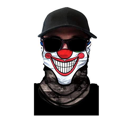 1pcs multifunzionale elastica headwear maschera parasole maschera sport dell'involucro della testa del bandana con la maschera di protezione uv per gli sport outdoor, clown viso, b