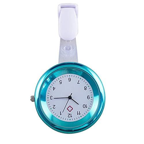 Goodtimes28 Taschenuhr, rund, analog, Quarz, zum Anklipsen, für Krankenschwestern und Ärzte blau