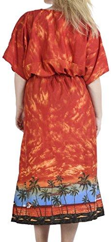 La Leela Badebekleidung Kreuzfahrt Seite glatt alle in Damen Strand-Bikini-Vertuschung casual Abendkleid plus Dressing Nachthemd Lounge Abend tief Hals lange lose Kimono drastring Maxikleid Kaftan Obst Orangen