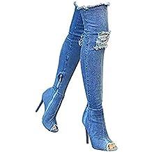 Misab - Botas de Verano para Mujer, con Puntera de otoño Sobre la Rodilla,