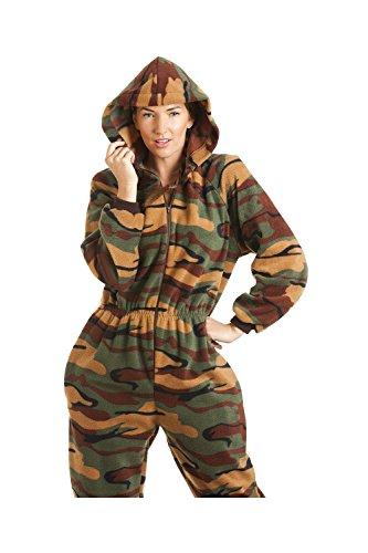 Combinaison pyjama à capuche en polaire - motif camouflage - femme - vert - taille 38 à 52 Vert