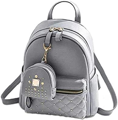 Sk Noor Women's Girls Fashion PU Leather Mini Casual Backpack Bags For School, College, Tuition, office With Small Pocket Keychain (Grey)