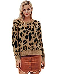 Terryfy Damen Pullover Leopard O Neck Sexy Herbst Winter Warm Sweater Langarm  Oberteile Casual Plus Jumper 8be673f4c6