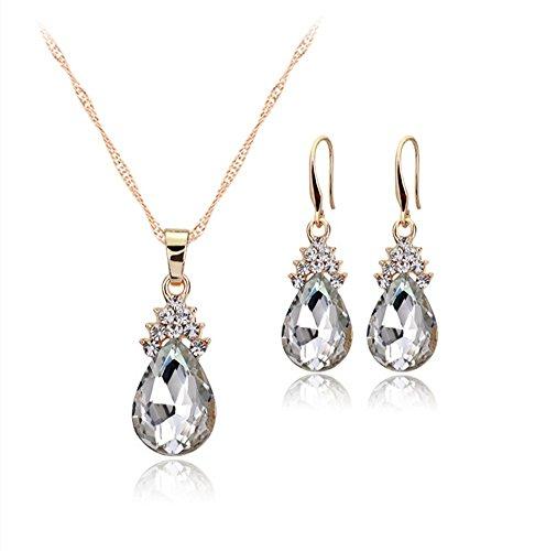 Gespout Diamant Forme de cœur Collier Boucles d'oreilles élégante Femme Bijoux Cristal Ensemble de pendentif en cristal Collier + Boucles d'oreilles Blanc