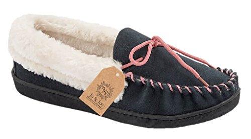 Jo&Joe - Mocassini da donna in vera pelle scamosciata, foderate di finta pelliccia di pecora, modello Orkney, disponibili nei numeri dal 37 al 42 Navy