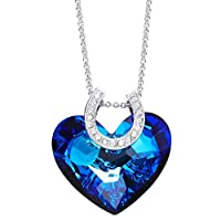 Blue heart shaped hoof printed crystal necklace
