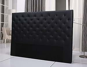 Tete de lit capitonnee king 160/180cm simili noir