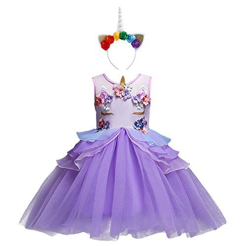 Blume Kostüm Prinzessin - IBTOM CASTLE Einhorn Prinzessin Sommer Kostüm für Kinder - komplettes Festliches Kleid Blumen für Mädchen Kleid mit Einhorn Violett 7-8 Jahre
