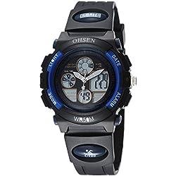 OHSEN Kids Waterproof Sport Watch Wristwatch with EL Backlight Alarm LED Digital Analog Display - Blue