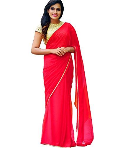 Shopaholic Enterpriselattest designer RedResham Woven Party Wear Bollywood Style Saree With Blouse