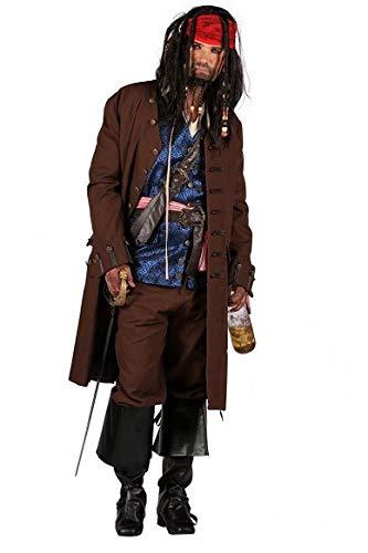 T2589-9900-L braun Herren Deluxe Piraten Kostüm Piratenkapitän - Deluxe Caribbean Pirat Kostüm