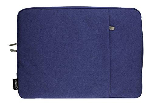 Emartbuy Universal 13.3 - 14.0 Inch Blau Premium Stoff Tragetasche Deckel mit Einziehbarer Griff und Reißverschlusstasche Geeignet für Ausgewählte Selected Laptops Notebooks Ultrabooks Aufgeführt Unten