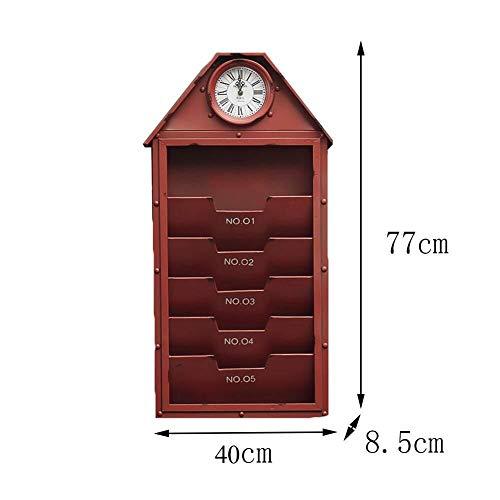 6-Slot Mail Sorter Organizer for Wandoberfläche - Mail Holder Organizer for Wandmontage Aus Metall - Wanddekoration for Schwebende Eingangsregale Mit Uhr (Color : Red) (Sorter Red E-mail)