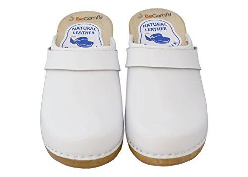 BeComfy Sabots en cuir pour femme avec imprimé sandales clogs mules à talons en bois blanc Model VK42 Weiß- Glatt