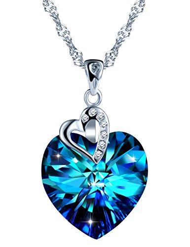 SIXLUO 925 Sterling Silber Damen Halskette 'Herz des Ozeans' Blau Kristall Zirkonia Anhänger Liebe Herz Kette