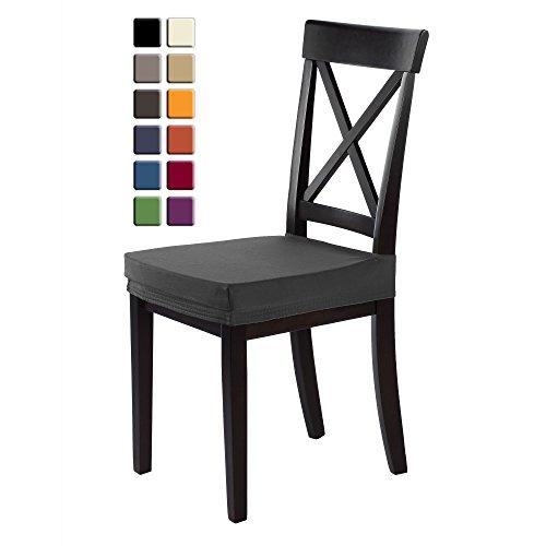 Chenille Kinder-stühle (SCHEFFLER-HOME Marie Sitz-Hussen 2 Stück, Stretch-Stoff Stuhl-Sitz-Bezug, bi-elastische Fleckschutz-Husse, moderne Schutz-Abdeckung mit Gummiband - Grau)