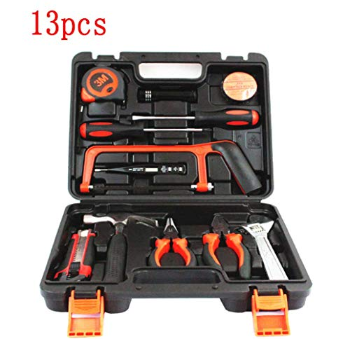 Adoudou Multifunktionäre Hardware-Toolbox Chargeable Woodworking Power Tool Combination Set Household Manual Tool Kit Schraubenzieher Elektrische Bohrzange Test Bleistift 13PCS