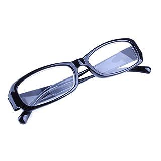 Inlefen Schlanke rechteckige Lesebrille Retro Vintage Brillen Herren Damen (black +6.00)