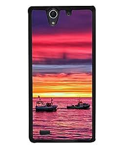Fuson Designer Back Case Cover for Sony Xperia C4 Dual :: Sony Xperia C4 Dual E5333 E5343 E5363 (Sunset Sunrise Yellow Purple Colour)