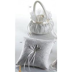 Cojín anillos boda y cesta arras o pétalos redonda