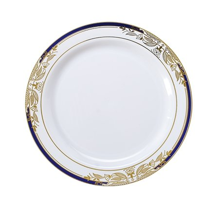12oz 340ml Elegant China-Look Heavy Duty Hard Plastic Party Bowls//Soup Bowls Pack of 10 - White//Gold//Cobalt Blue