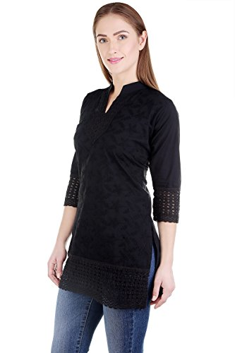 Haniya Chikan Embroidery Women's Short Black Cotton Kurti (Black, Medium)